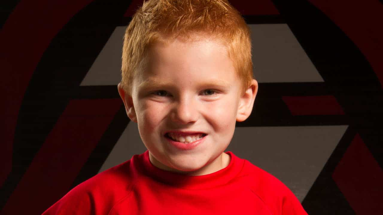 red-headed, smiling child